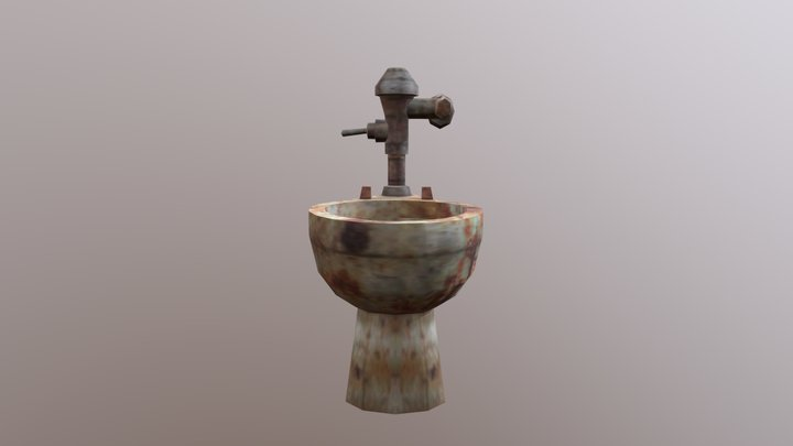 Silent Hill toilet with no seat dirty 3D Model