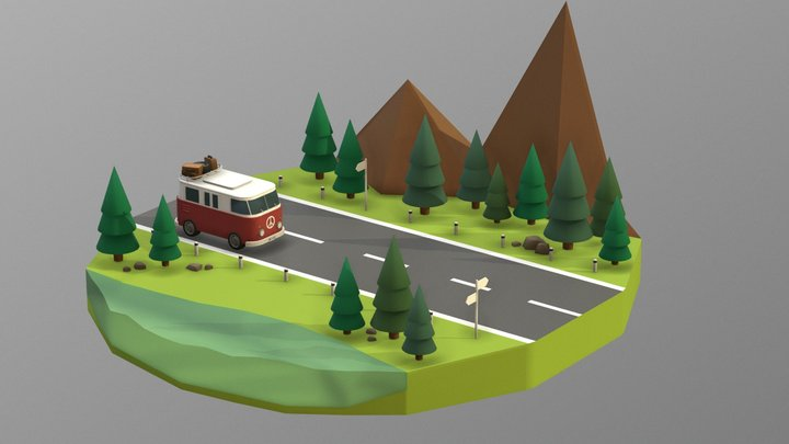Bus in forest 3D Model