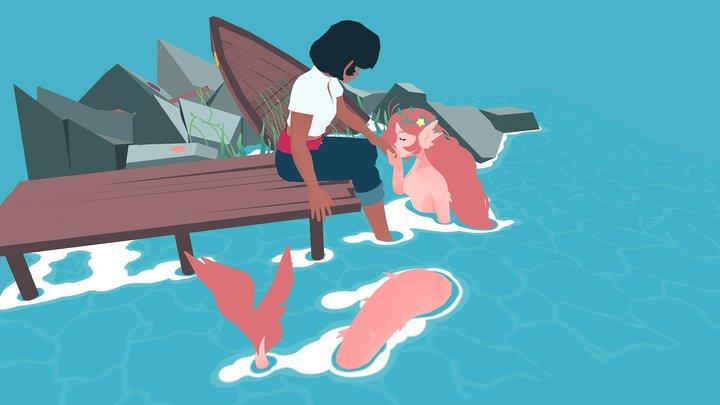 Mermaid's Greeting 3D Model