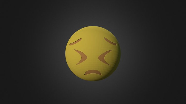 Frowning With Eyes Shut Tight - 3D Emoji 3D Model