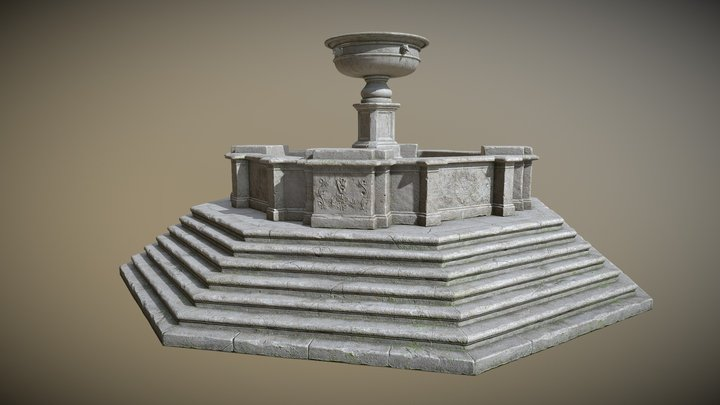 Fountain with Wolf Heads 3D Model