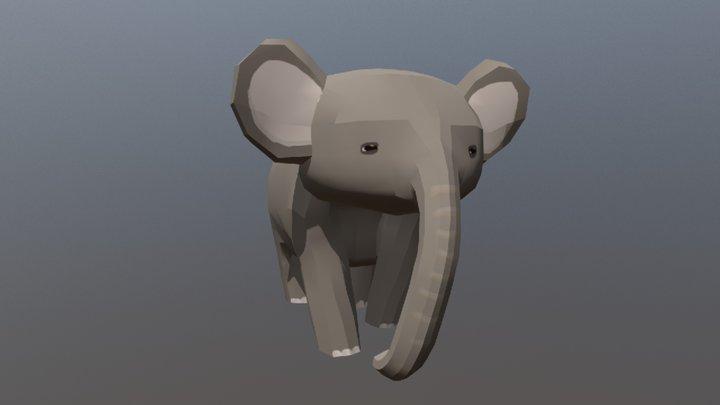 Elephant - Walking cycle 3D Model
