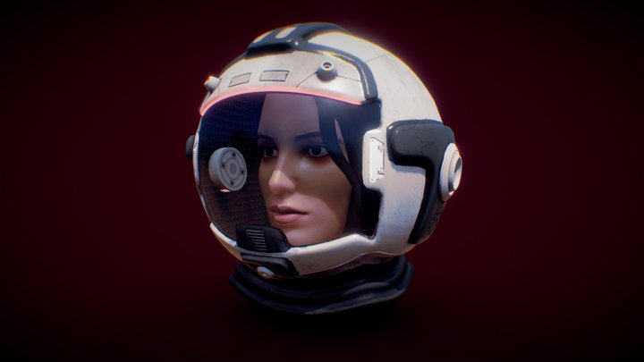 Astronaut head woman 3D Model