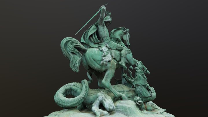 Saint George killing the dragon 3D Model
