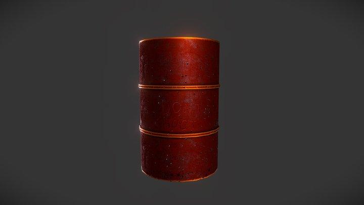 Dont Shoot Metal Barrel 3D Model