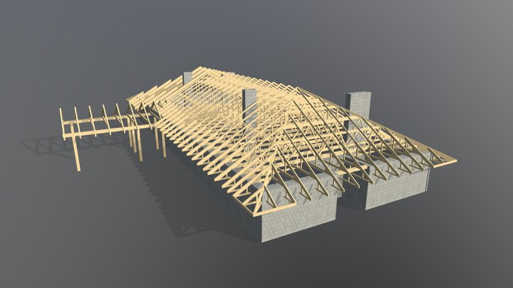 Roof structure made out of timber trusses 3D Model