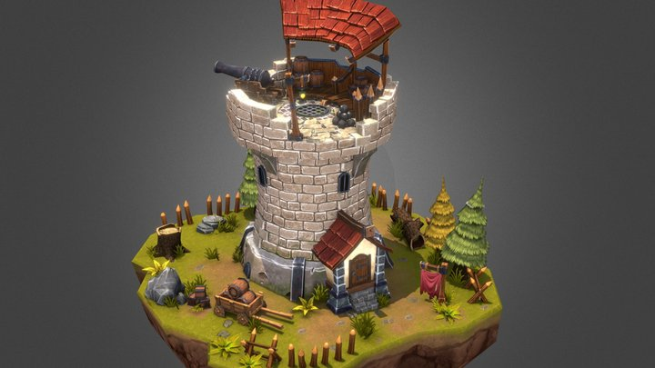 Cannon Tower Scene 3D Model