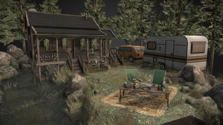 self sustaining house in the forest 3D Model