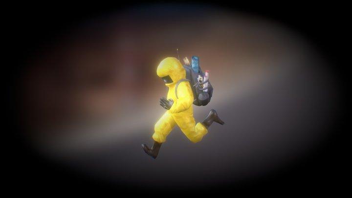 Hazmat guy runs from danger Animation 3D Model