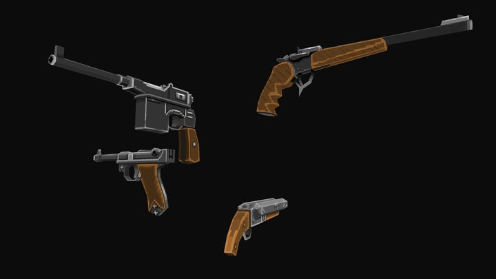 Low Poly Pixel art Weapons 3D Model
