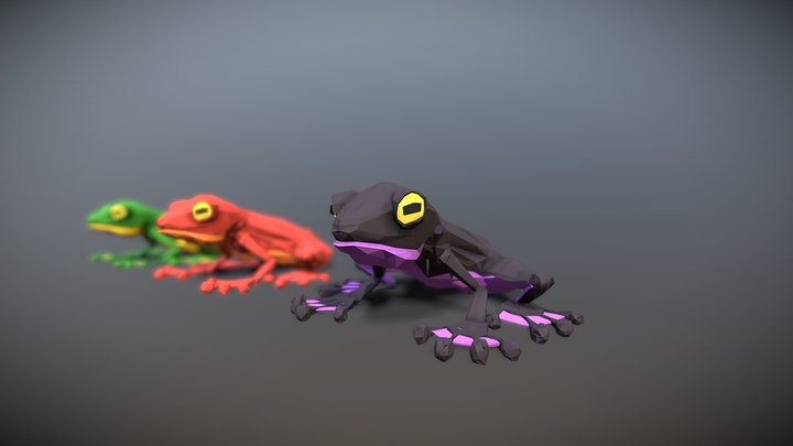 Low Poly Frogs 3D Model