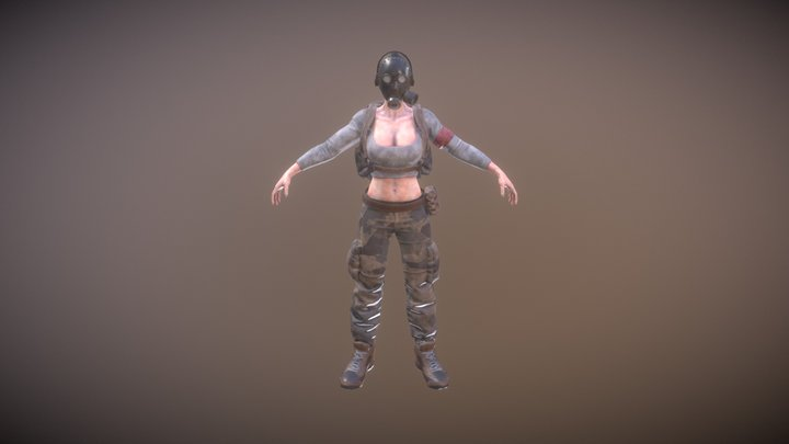 Rigged Female Survivor C 3D Model