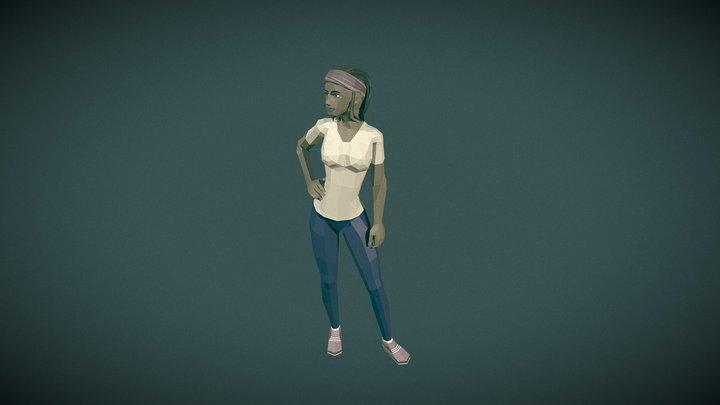 Lowpoly Female with Dreadlocks 3D Model