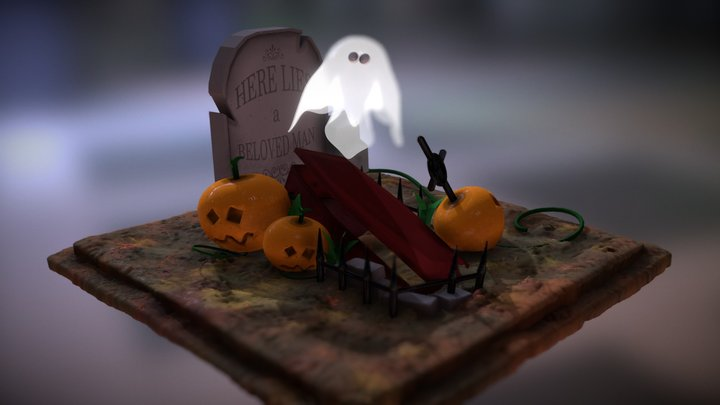 Ghost & Pumpkin [Halloween theme diorama] 3D Model