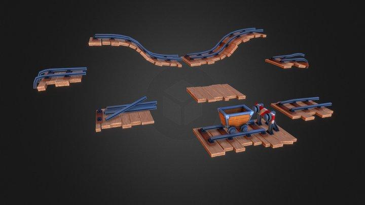 Minecart and Rails 3D Model