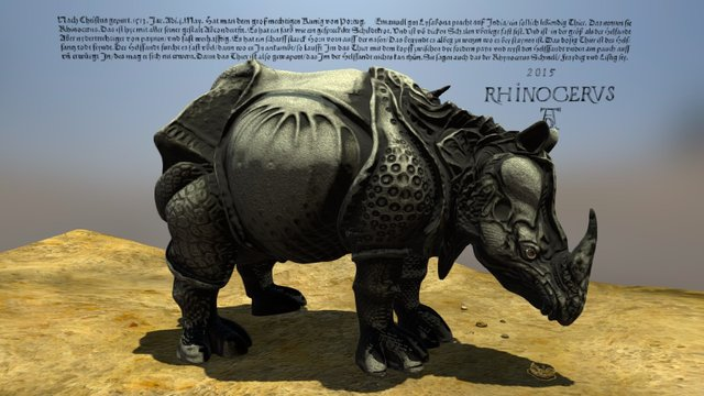 Dürer's Rhinoceros 3D Model
