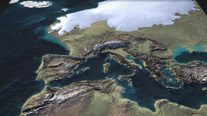 Ice Age Europe 3D Map 3D Model