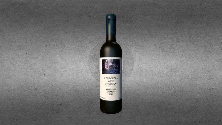 wine bottle Zinfandel 3D Model