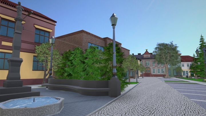 Makow Podhalanski Town Square 3D Model