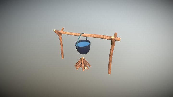Bonfire with cauldron 3D Model