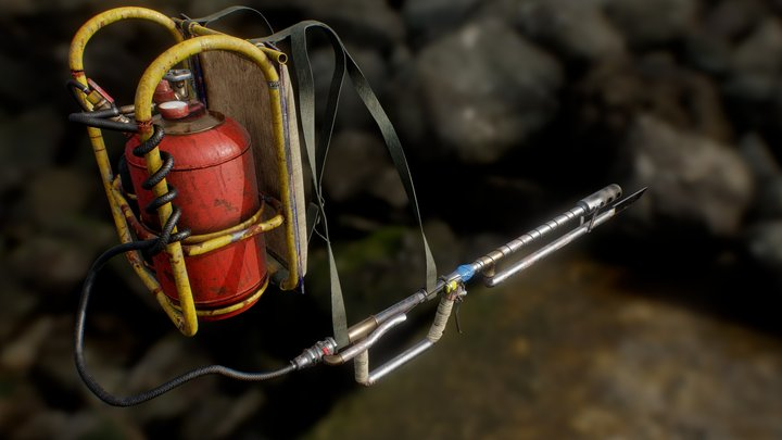 Post-apocalyptic flamethrower 3D Model