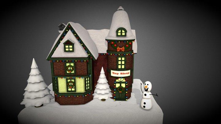 Snowy Christmas Scene 3D Model