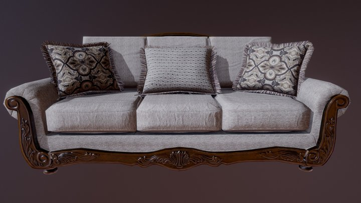 Game ready sofa 3D Model