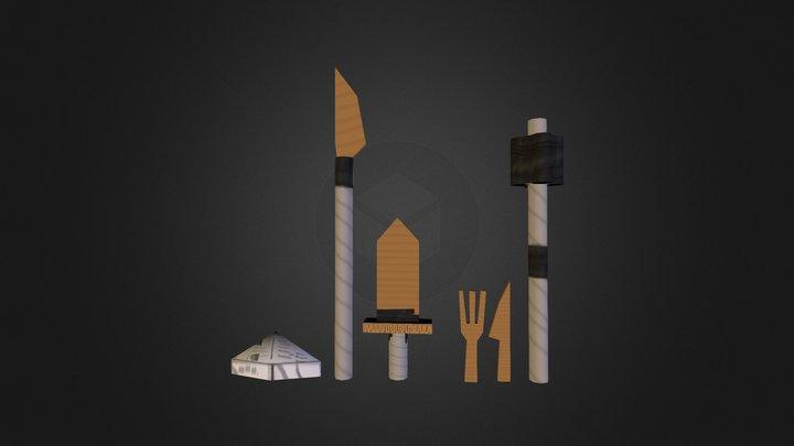 paper weapons 3D Model