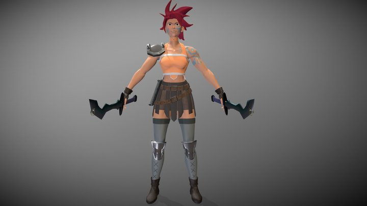 Warrior Woman Game Ready 3D Model