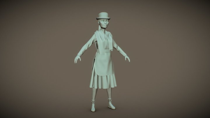 Female Farmer 3D Model