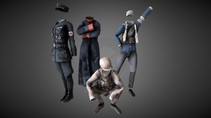 WWII Uniforms 3D Model