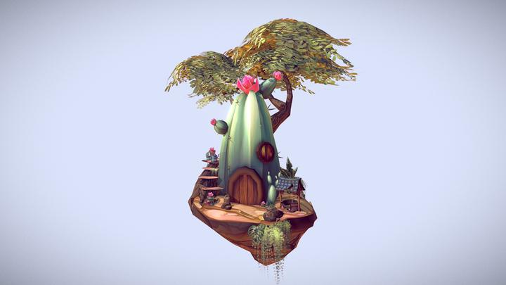 Succulent Diorama 3D Model
