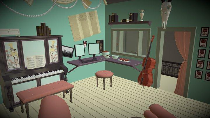 Cabinet of Curiosity Fantasy Studio Space 3D Model