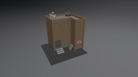 PBR Brick building 3D Model