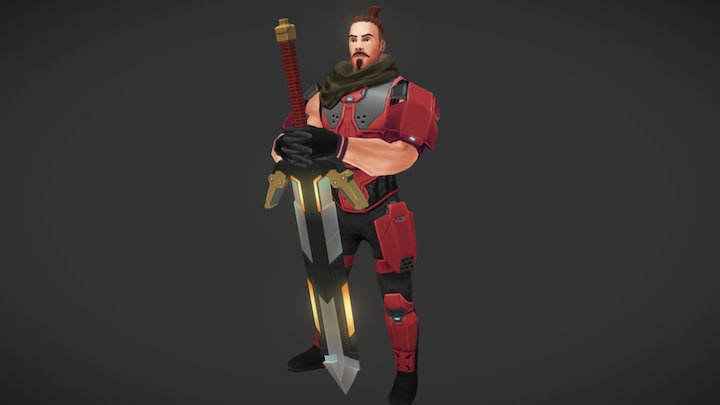 2H Sword Warrior (Run cycle) 3D Model