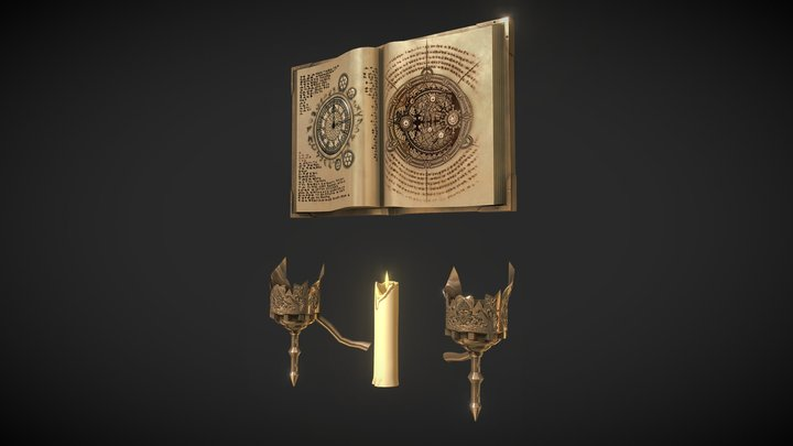 Sconce, Candle & Book for Project 3D Model