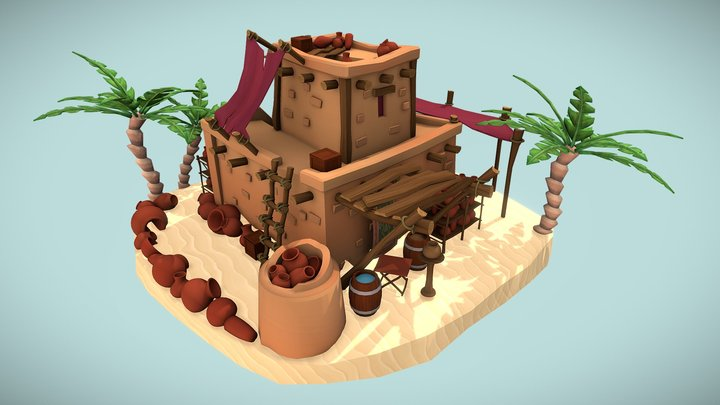 Ancient Egyptian Pottery 3D Model