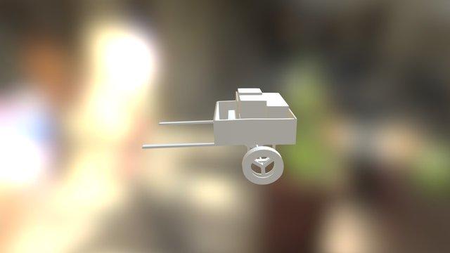 Untextured Wooden Cart 3D Model