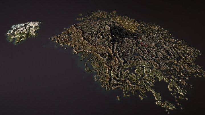 TESIII: Morrowind - Vvardenfell/Solstheim 3D Map 3D Model