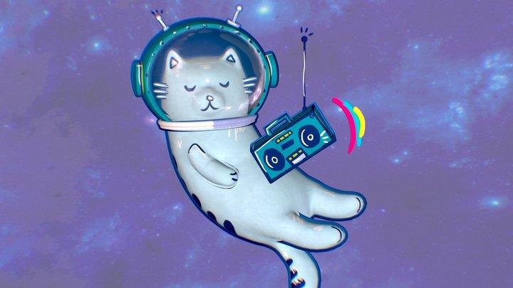 Boombox Space Cat 3D Model