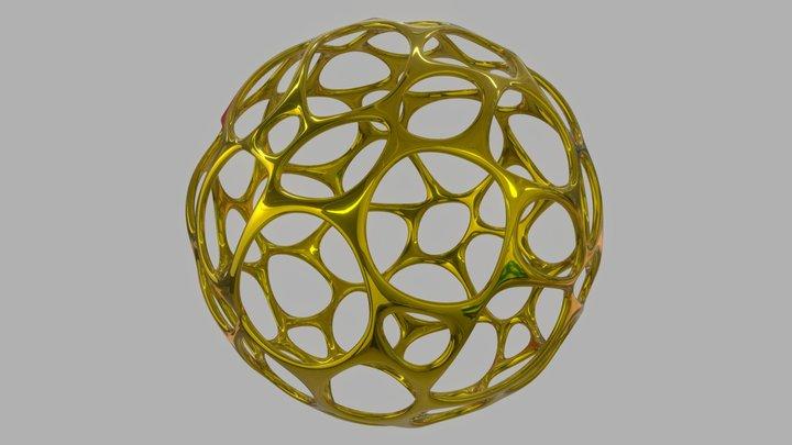 Gold Chaotic Esphere 3D Model