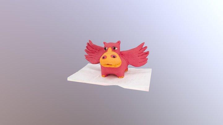 Flying Hippo sculpture 3D Model