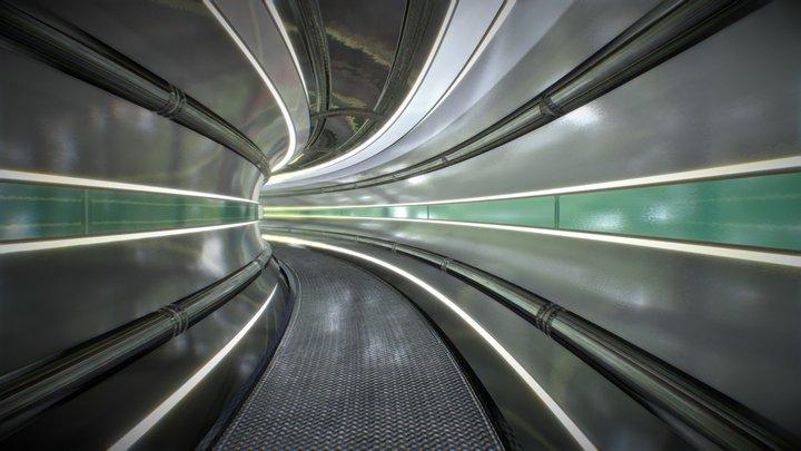 Sci-fi Hallway Tube 3D Model
