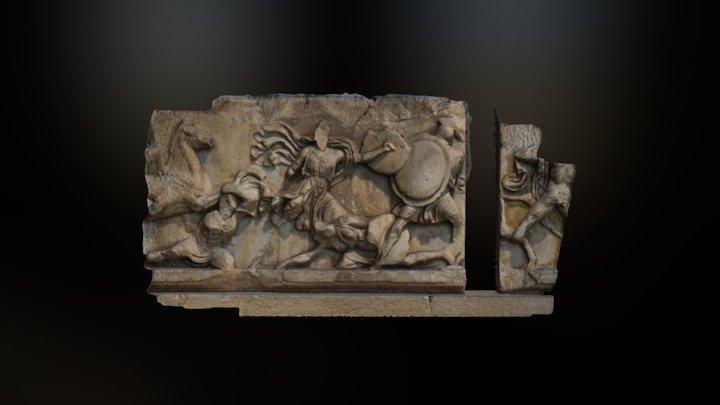 Marble frieze block showing the Amazonomachy 3D Model
