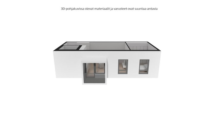 Keinulaudantie 2b, Helsinki 2H+KT - 45,5 m² 3D Model