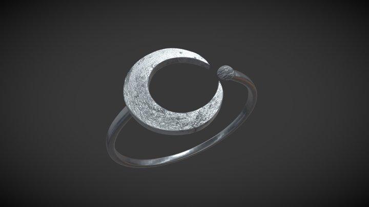 Silver Moon Ring 3D Model