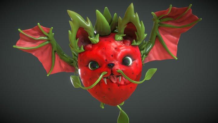 Strawberry Fruit Bat - Animated 3D Model