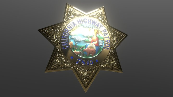 California HighWay Patrol Badge 3D Model