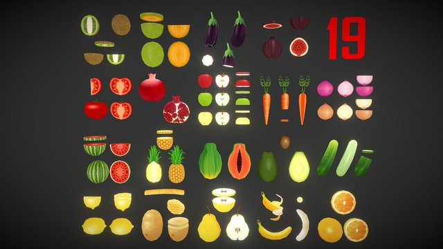 Fruits and Vegetables Low Poly - Cartoon Style 3D Model
