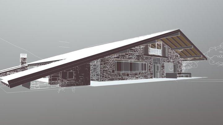 Casa del tejado hasta el suelo 3D Model